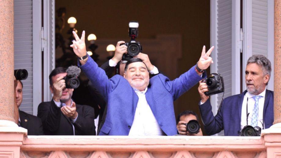 Maradona durante su visita a la Casa Rosada en diciembre de 2019.