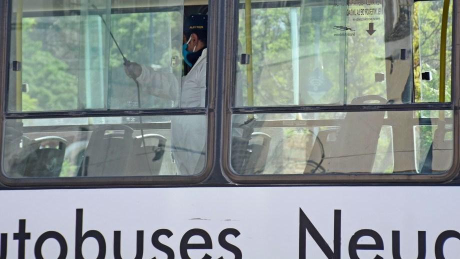 La desinfección del servicio urbano de Neuquén (foto archivo Florencia Salto)