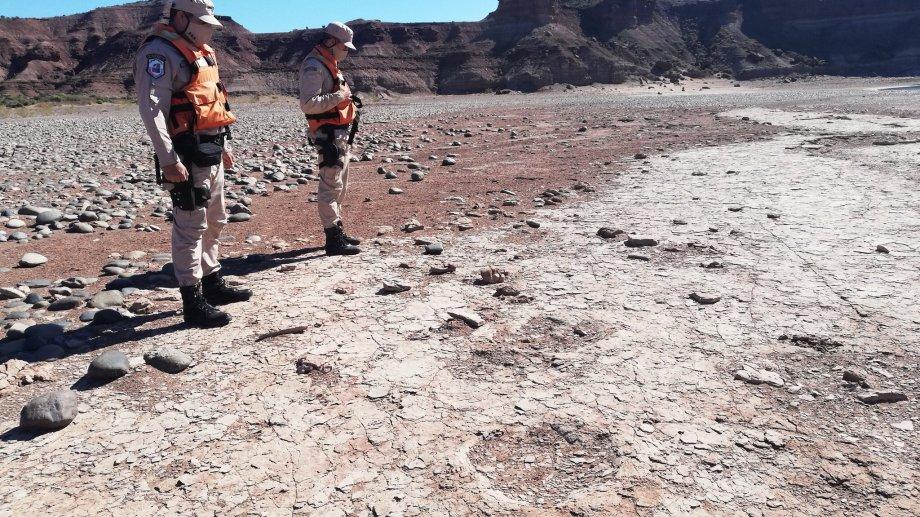 Según los especialistas las huellas  encontradas en Villa El Chocón pertenecerían a un dinosaurio bípedo del  periodo Cretácico.  Foto: Gentileza  @PrefecturaNaval