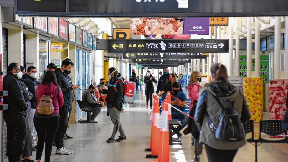 Los únicos servicios que funcionan en estos momentos en la terminal de Neuquén son los interurbanos y los de repatriación. Foto: Florencia Salto