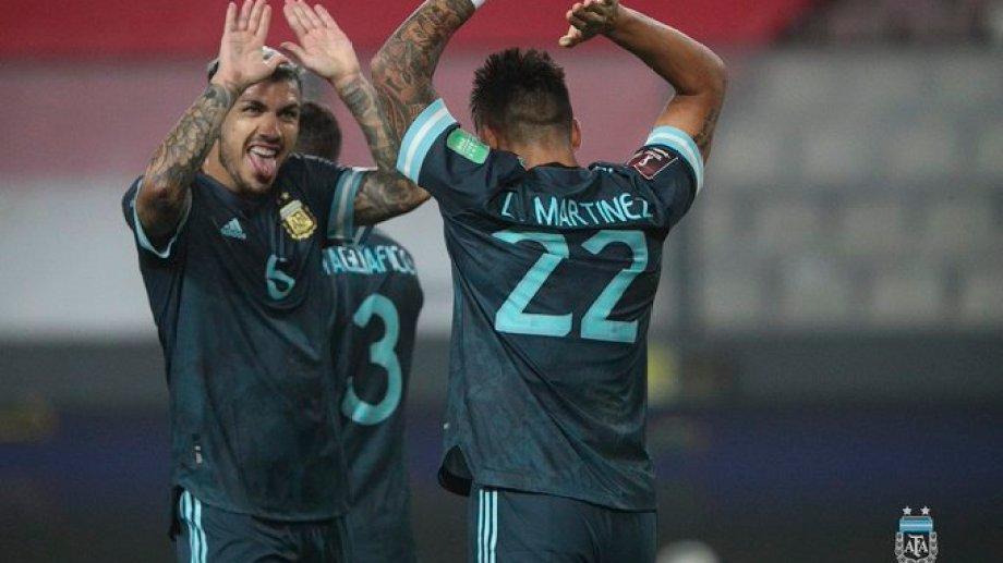 Lautaro Martínez festeja el segundo gol de Argentina: Foto:@Argentina