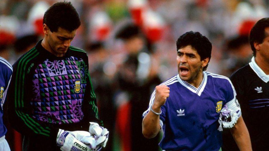 Maradona compartió la Selección del '90 con Sergio Goycochea, en Italia.-
