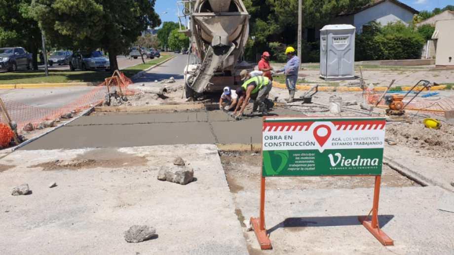 Las reparaciones en Costanera y Sarmiento. Foto: gentileza.