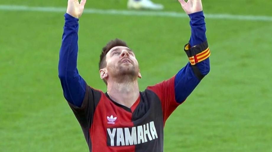 Messi celebró su tanto de una manera muy particular (Foto: AP).