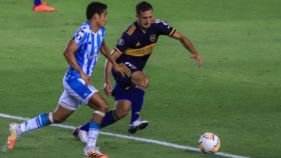 Melgarejo metió el gol del primer triunfo de Racing ante Boca en copas internacionales (Foto: Télam)