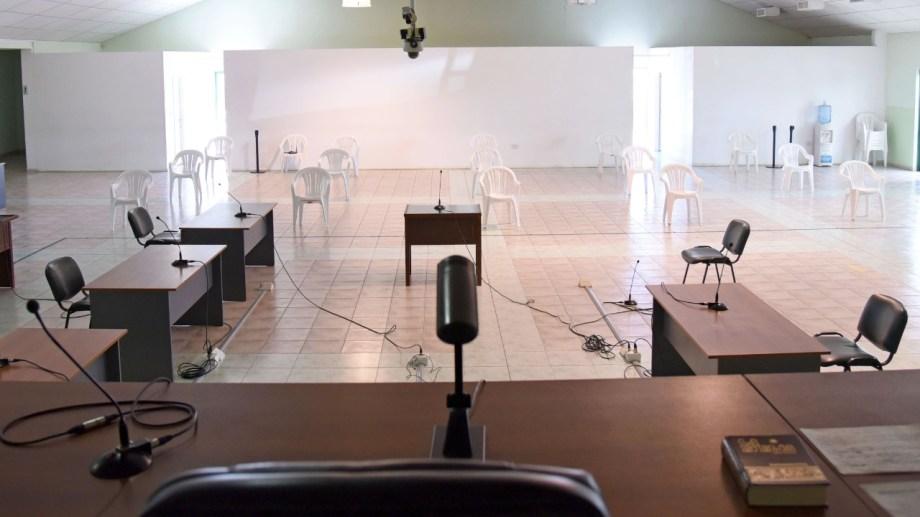 Sala de audiencias del TOF Neuquén para casos complejos (foto Florencia Salto)