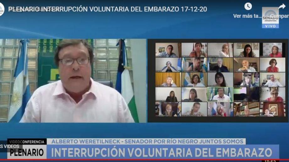 Alberto Weretilneck en el Senado opinó sobre el proyecto de Interrupción Voluntaria del Embarazo.