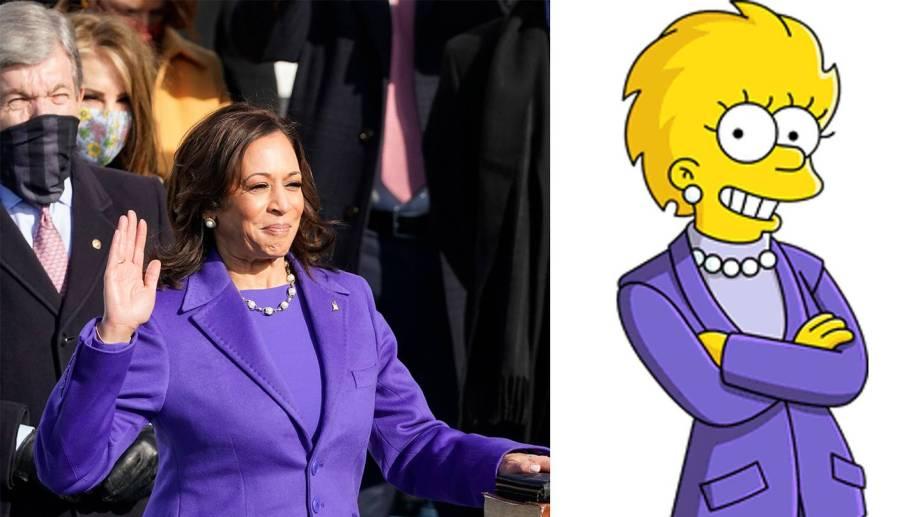 Harris utilizó un traje del mismo color que Lisa cuando asume como presidenta. El plus fueron las perlas.-