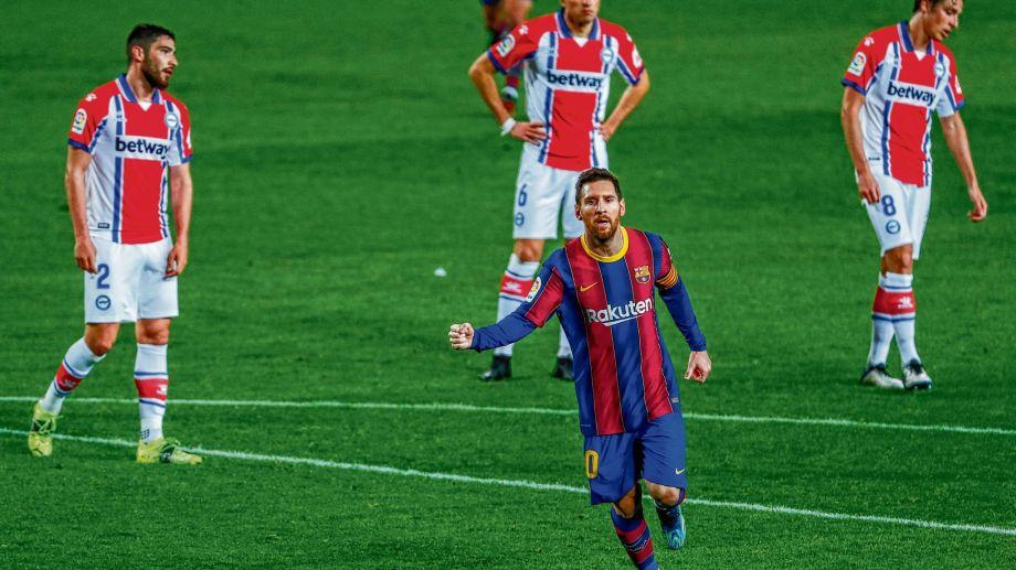 Messi y la sana costumbre de gritar goles en Barcelona.
