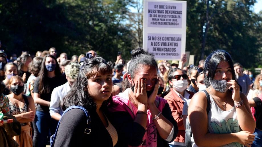 Hoy hubo una marcha ante la sede judicial en la ciudad cordillerana. Foto Alfredo Leiva.