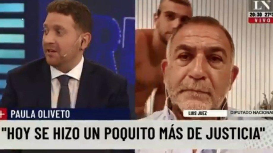 Insólito momento mientras Luis Juez brindaba una entrevista.