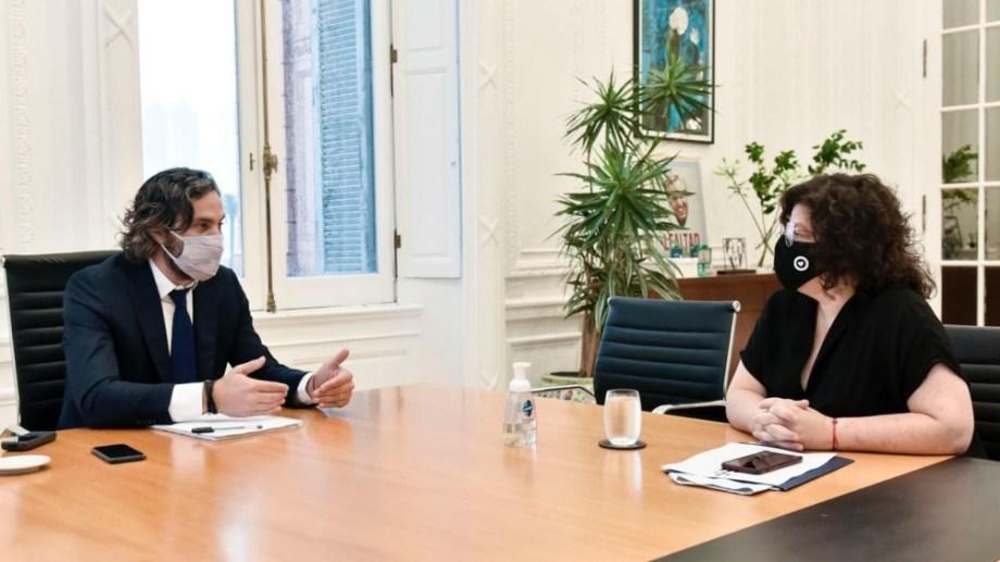 La minista Vizzotti mantuvo una reunión de trabajo con el jefe de Gabinete Cafiero. Foto Télam.