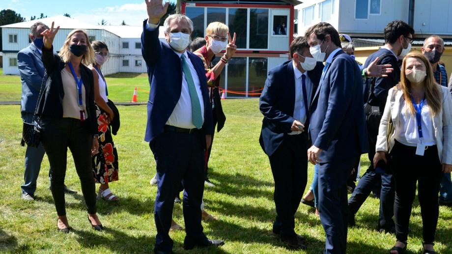 El presidente Alberto Fernández llegó a Bariloche esta tarde en su primera visita oficial a Río Negro. Foto: Alfredo Leiva