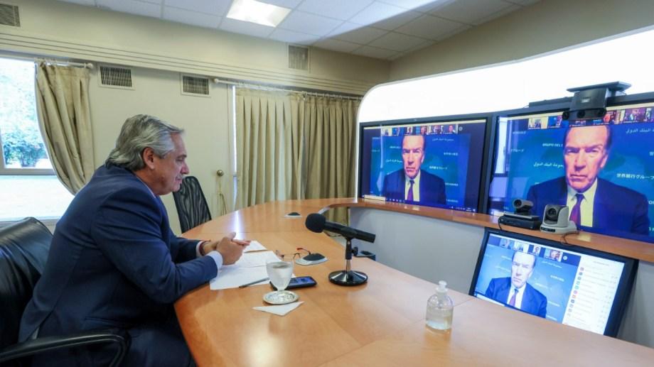 El presidente habló por videoconferencia con el titular del Banco Mundial (BM), David Malpass.