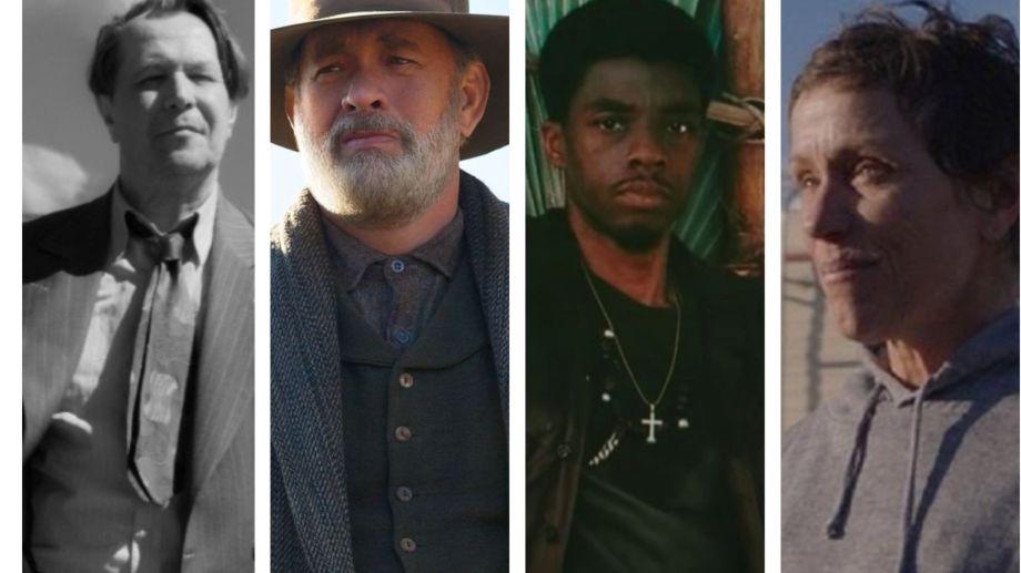 "Nominados. Gary Oldman (""Mank""), Tom Hanks (News of the World""), Chadwick  Boseman (Da 5 Bloods) y Frances McDormand (Nomadland)."