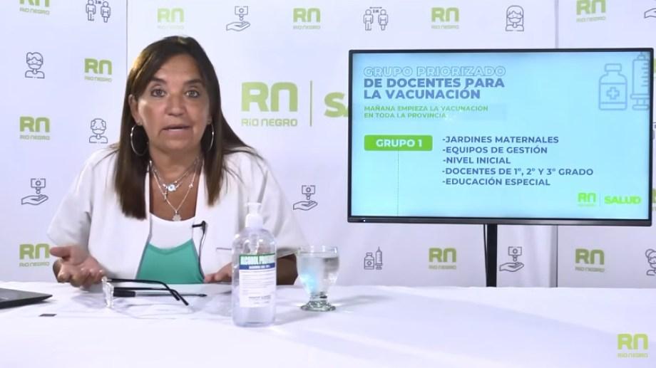 La secretaria Políticas Públicas de Río Negro, Mercedes Iberó, brindó detalles acerca de la vacunación a docentes con la llegada de la vacuna Sinopharm.