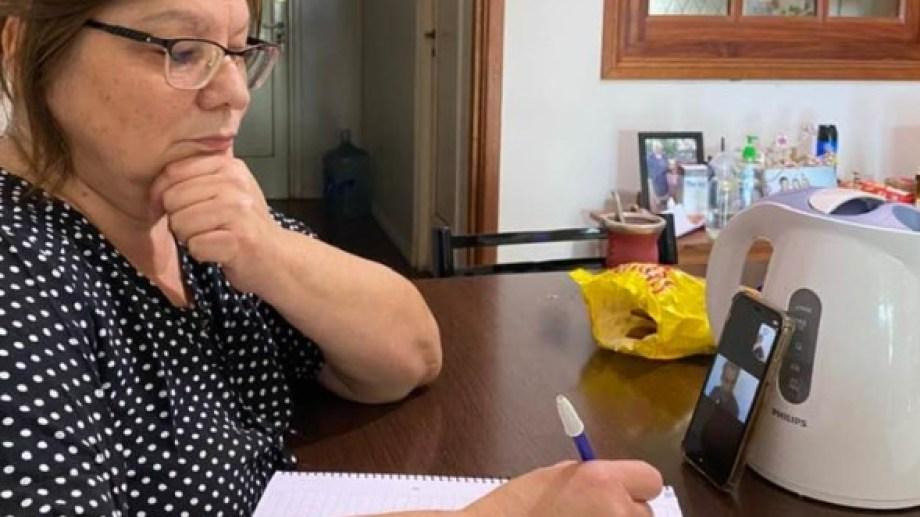 La intendente Mabel Yahuar mantuvo una reunión virtual con técnicos de provincia y Nación para convalidar el  proyecto a ejecutar. Foto: Gentileza.