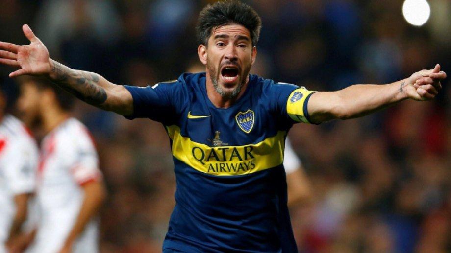 Pablo Pérez en el partido de la final de la Copa Libertadores 2018, cuando fue capitán de Boca y perdió contra River.
