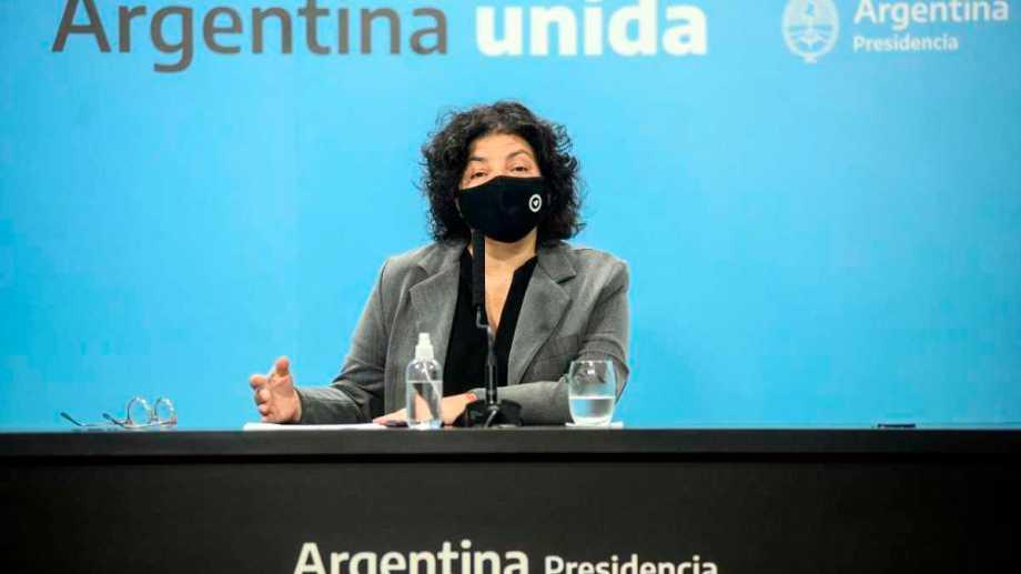Carla Vizzotti brindó una conferencia de prensa. Foto: Télam