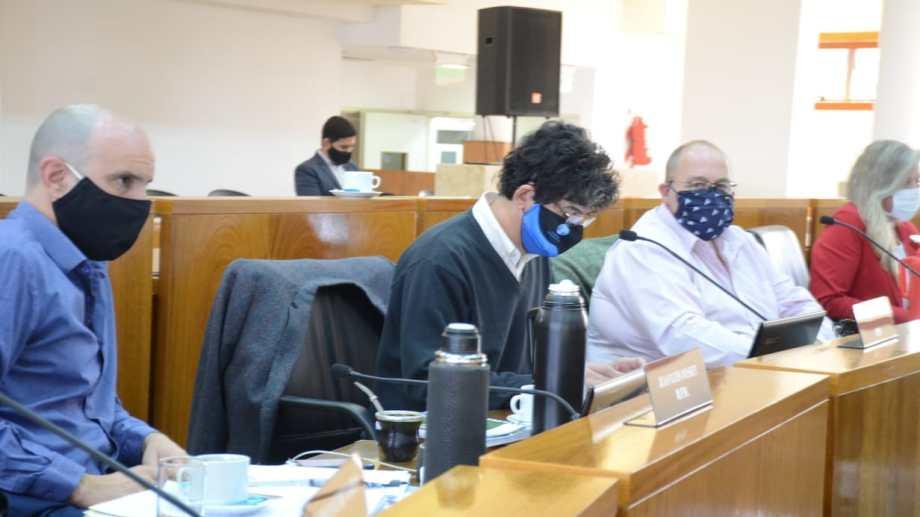 El bloque del MPN: Juan José Ousset, Atilio Sguazzini, Jorge Rey e Isabel Mosna (archivo)