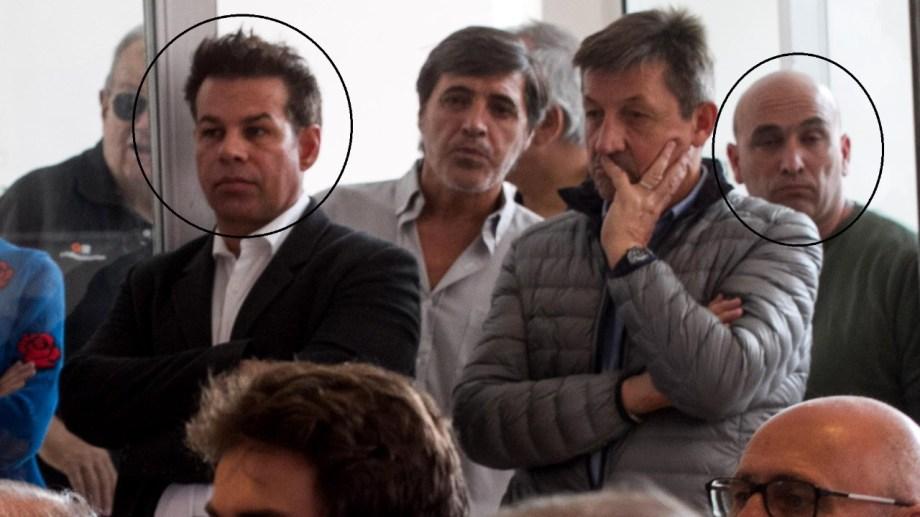Fred Machado y Claudio Ciccarelli (atrás a la derecha) en la presentación de Espert en Viedma, a mediados de abril del 2019.