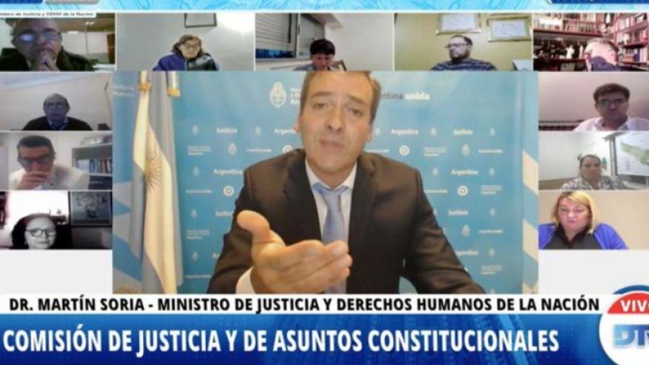 """El ministro de Justicia Martín Soria pidió en Diputados """"rescatar al Ministerio Publico de la crisis de legitimidad""""."""