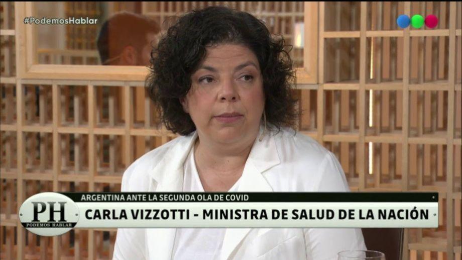 """Vizzotti dijo que """"el propio presidente se enoja"""" por la falta de vacunas, cuya entrega está demorada a nivel mundial."""