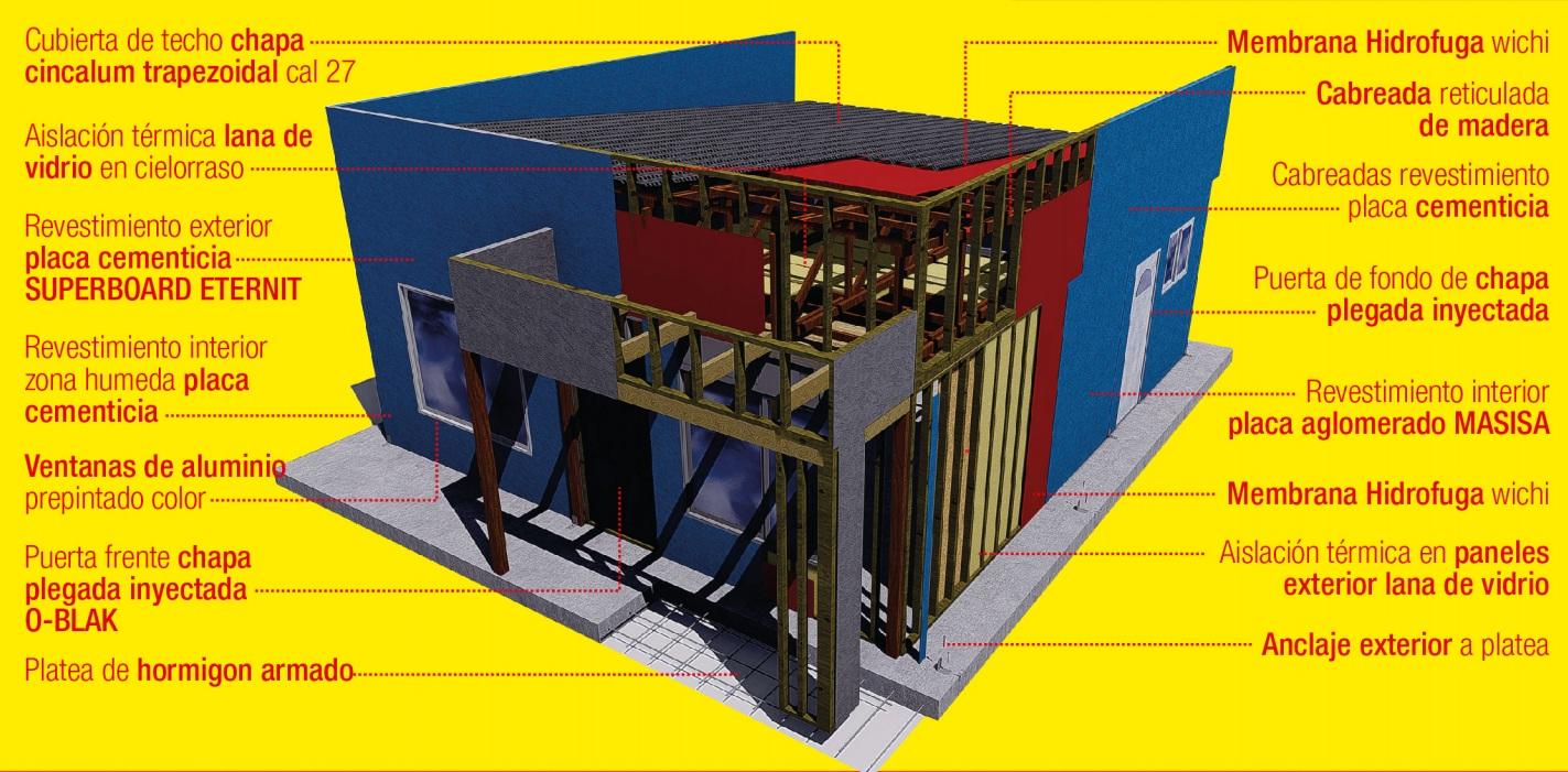 Detalle de casa realizada con sistema constructivo modular