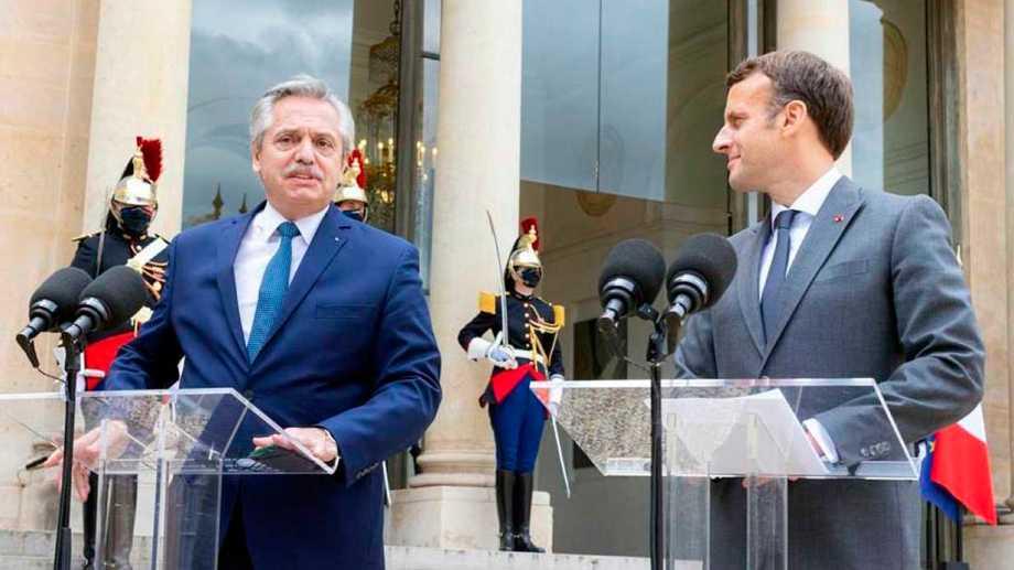 """Macron a Fernández, sobre la renegociación de la deuda: """"Francia está de su lado"""". Foto: Télam"""