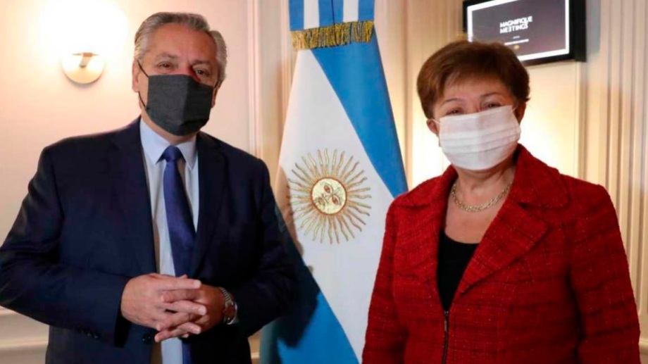 Primer encuentro presencial entre Fernández y Georgieva.