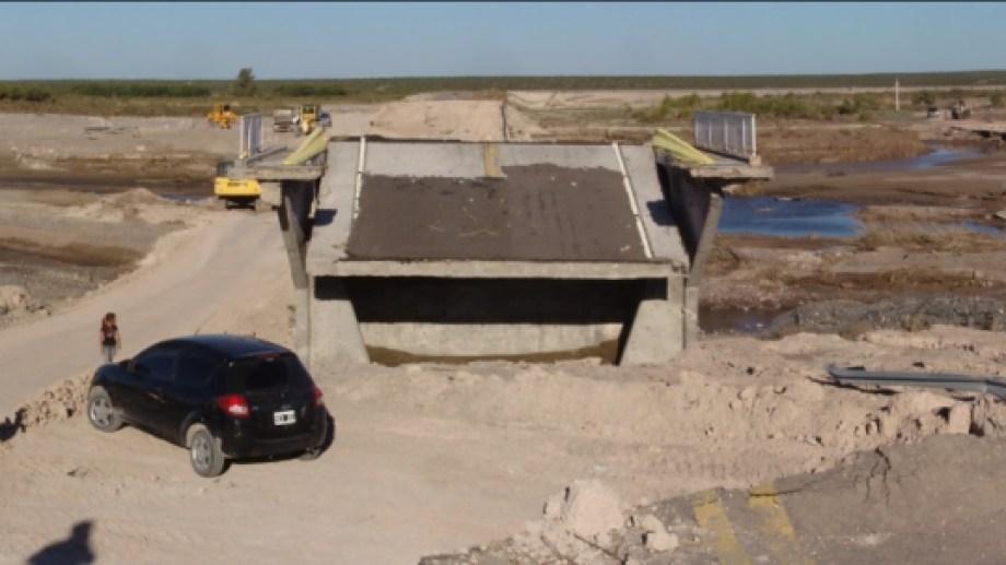 Se realizarán tareas de optimización en el desvío sobre las ruinas del puente del Nahuel Niyeu.  Foto: gentileza.
