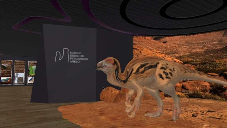 La visita virtual está acompañada de una musicalización y de sonidos de dinosaurios. Foto: Captura recorrido museo virtual de Añelo.