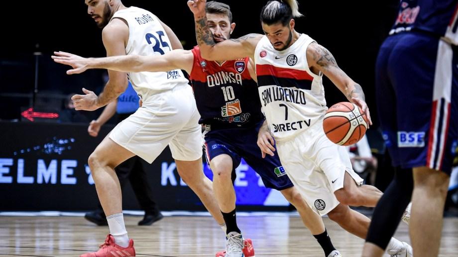 Aguirre, capitán y referente, le ganó la final con San Lorenzo a su ex club. Foto: prensa LNB