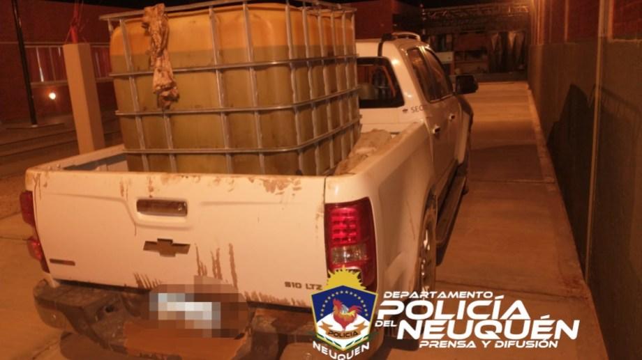 Portaban una bomba que usaron para extraer  el combustible y guardar en un tanque.  Foto: Gentileza