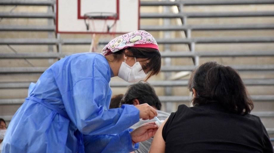 La vacunación se desarrolla en el polideportivo municipal. (Florencia Salto)