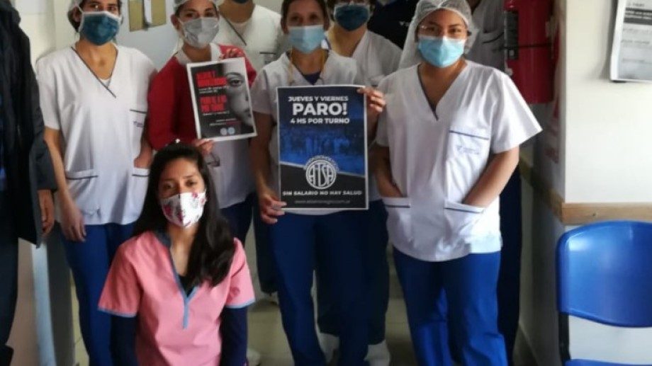 Los trabajadores de sanatorios y clínicas de Bariloche se suman al paro de 4 horas por turno para este viernes. Foto: gentileza ATSA