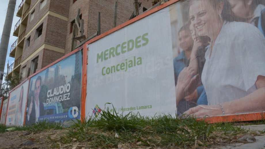 La cartelería par la renovación del Deliberante ya arrancó foto: Yamil Regules.
