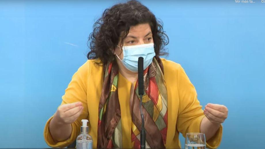 La ministra de Salud Carla Vizzotti confirmó el acuerdo con Pfizer en conferencia de prensa.