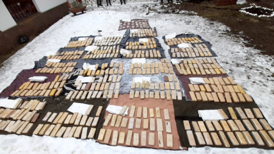 Los ladrillos se encontraban en el interior de bolsas arpilleras blancas. Foto: argentina.gob.ar/