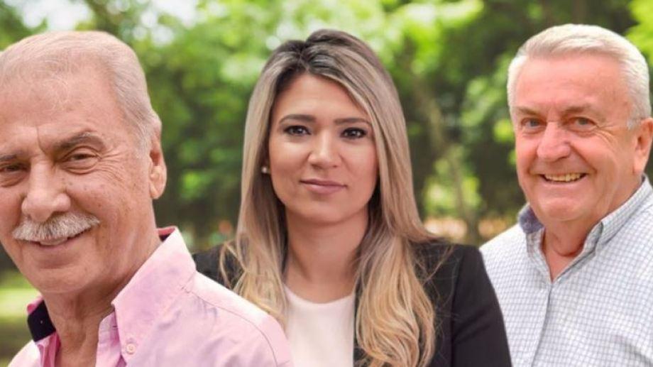 Jorge Sobisch está acompañado por Nadia Márquez y Daniel Baum (Gentileza)