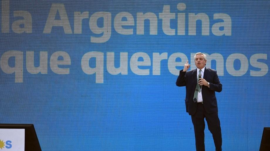 El presidente Alberto Fernández fue el único orador del acto político en Tecnópolis.