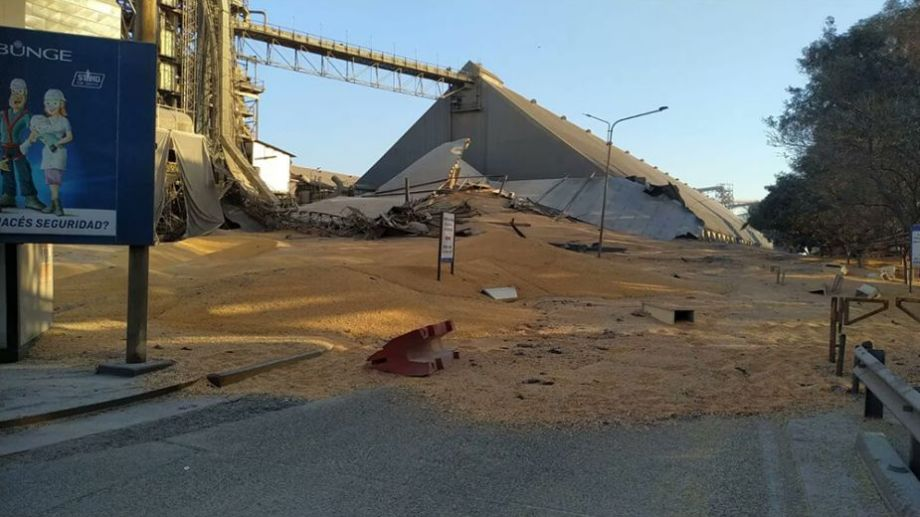 Así quedó el silo, tras el derrumbe de este lunes. Foto: gentileza.-