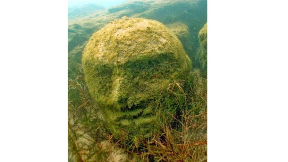 La misteriosa cabeza está sumergida en una parte del lago Mari Menuco que no es de fácil acceso. (Gentileza).-