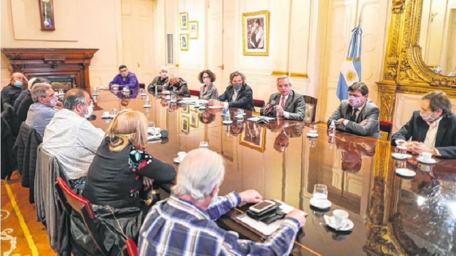 El encuentro se llevó a cabo en la Casa Rosada y contó con los principales referentes de los trabajadores.