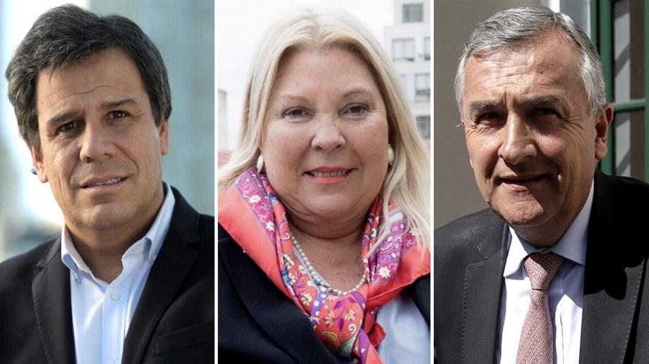 Tres de los protagonistas de los cruces dentro de Juntos por el Cambio: Manes, Carrió y Morales.