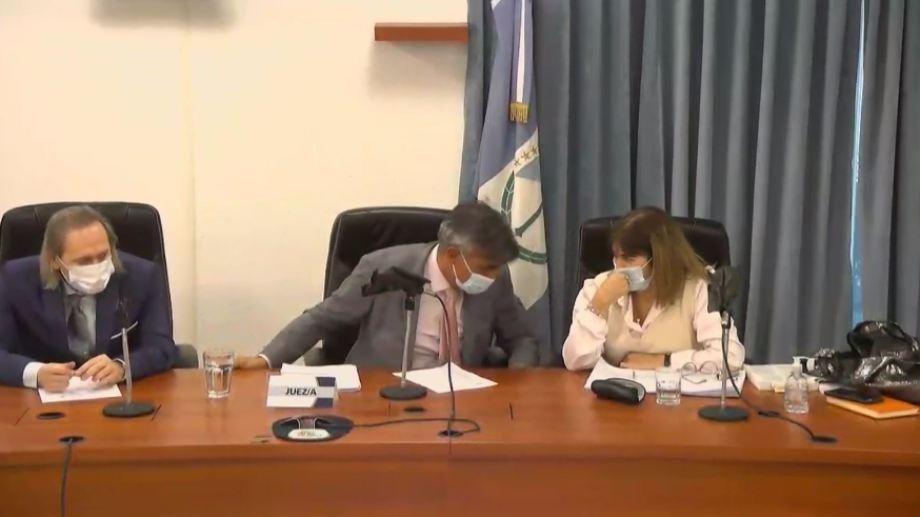 Varessio, Trincheri y Malvido, los jueces y la jueza que integraron el tribunal del juicio. El fallo fue unánime.
