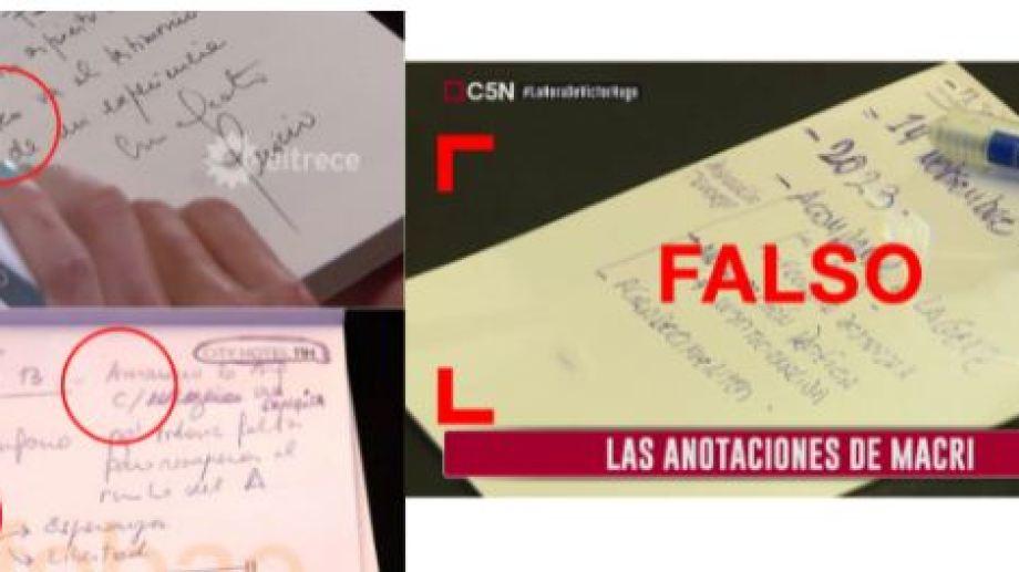 A la izquierda, la letra de Macri en la dedicatoria a Juana Viale y en la foto de Maximiliano Luna (Infobae); a la derecha la foto falsamente atribuida a Macri. (Reverso)