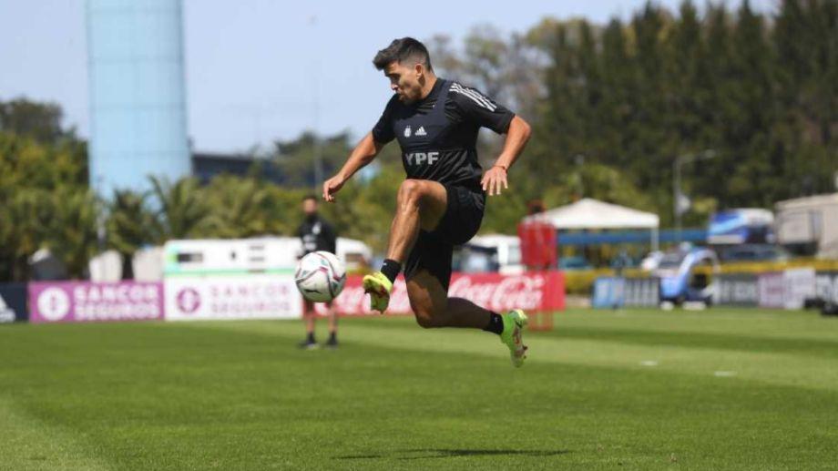Marcos Acuña pudo entrenar con normalidad. Tuvo una rápida recuperación luego de no estar disponible contra Uruguay. Foto: prensa selección. Foto: Prensa AFA