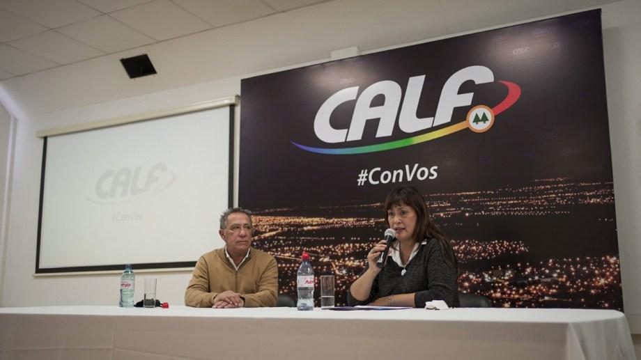 Fernanda Miño acompañada por el presidente de CALF. Foto. Prensa CALF