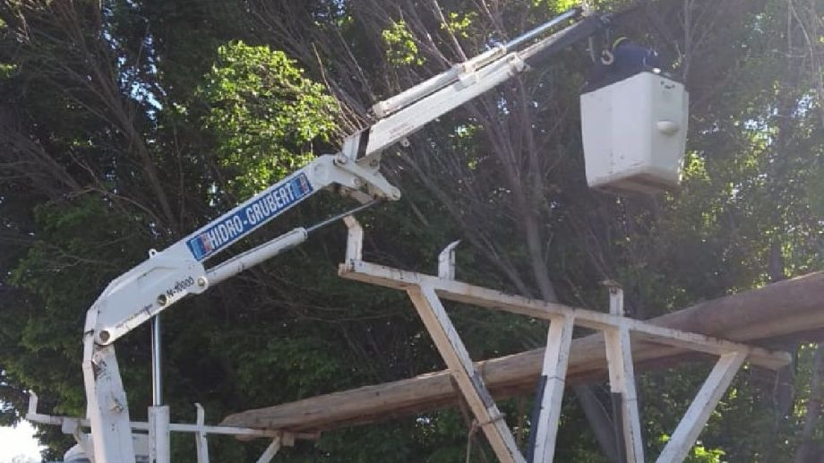 Operarios de Edersa trabajan en la reparación de líneas cortadas por caída de ramas. (Foto gentileza)